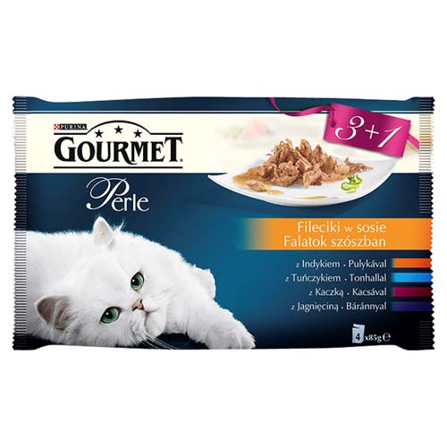 GOURMET PERLE 3+1 Multipack 4x85g mini filetky ve šťávě