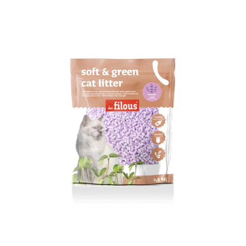 LES FILOUS Soft and green cat litter 2,5kg levender parfume