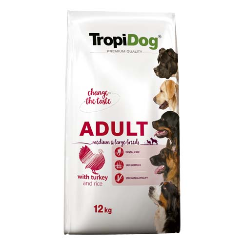 TropiDog Premium Adult Medium & Large 15kg with turkey & rice