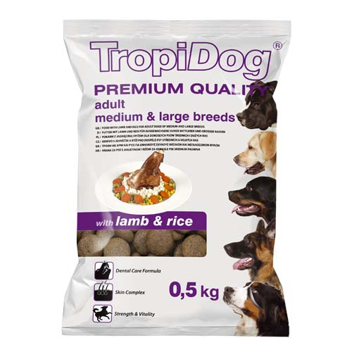 TropiDog Premium Adult Medium & Large 500g with lamb & rice