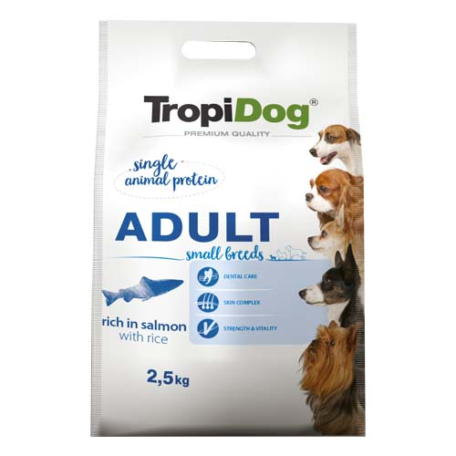 TropiDog Premium Adult Small 2,5kg rich in salmon