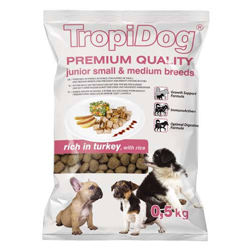 TropiDog Premium Junior Small & Medium 500g rich in turkey & rice