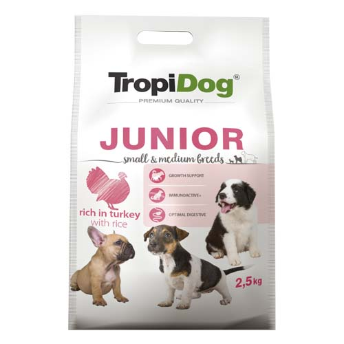 TropiDog Premium Junior Small & Medium breeds 2,5kg rich in turkey & rice